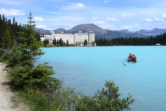 Lake Louise with Lodge and Rowers
