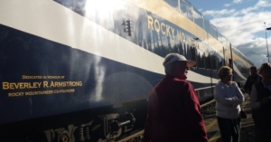 Dome car on the Rocky Mountaineer - outside