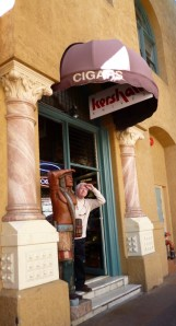 A classic cigar store complete with wooden Indian